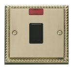 Click Deco Georgian Brass 20A Double Pole Switch Neon GCBR623BK