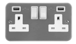 Click Metal Clad Twin USB Double Switched Socket CL780