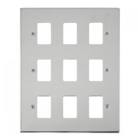 Click Deco Polished Chrome 9 Gang Grid Pro Front Plate VPCH20409
