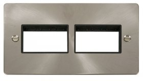 Click Define Brushed Steel Double Plate 6 Gang Aper FPBS406BK