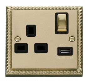 Click Deco Georgian Brass USB Single Switched Socket GCBR571BK