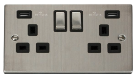 Click Deco Stainless Steel Twin USB Double Socket VPSS580BK
