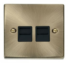 Click Deco Antique Brass Twin Master Telephone Socket VPAB121BK
