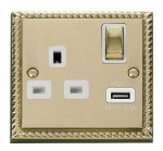 Click Deco Georgian Brass USB Single Switched Socket GCBR571WH