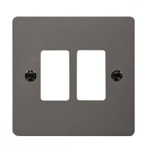 Click Define Black Nickel 2 Gang Grid Pro Front Plate FPBN20402
