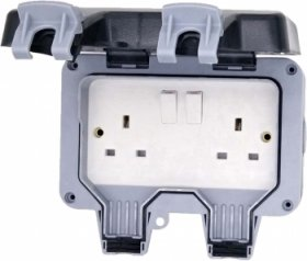Deligo 2 Gang 13A DP IP66 Switched Weatherproof Socket DWPS2