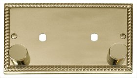 Click Deco Georgian Brass Twin Dimmer Plate 1630W Max GCBR186