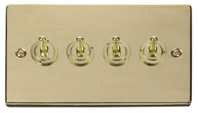 Click Deco Polished Brass 4 Gang 2 Way Toggle Switch VPBR424