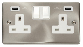 Click Deco Satin Chrome Twin USB Double Socket VPSC780WH