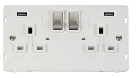 Click Definity Twin USB Double Switched Socket Insert SIN580PWSS