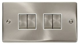 Click Deco Satin Chrome 4 Gang 2 Way Switch VPSC414WH