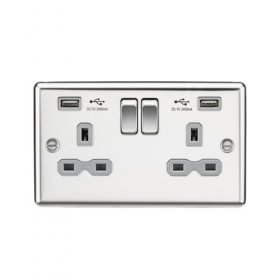 Knightsbridge Polished Chrome Dual USB Double Socket CL9224PCG