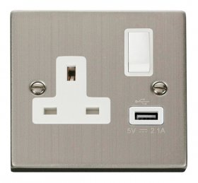 Click Deco Stainless Steel USB Single Switched Socket VPSS771WH