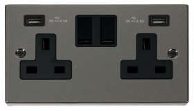 Click Deco Black Nickel Twin USB Double Socket VPBN780BK