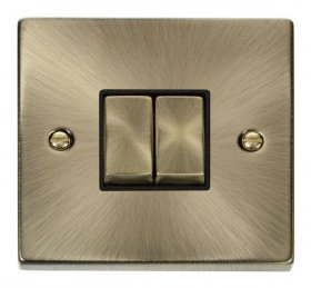 Click Deco Antique Brass  2 Gang 2 Way Switch VPAB412BK