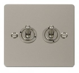 Click Define Pearl Nickel 2 Gang 2 Way Toggle Switch FPPN422