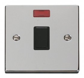 Click Deco Polished Chrome 20A Double Pole Switch Neon VPCH623BK