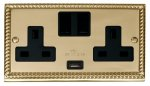 Click Deco Georgian Brass USB Double Switched Socket GCBR770BK