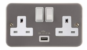 Click Metal Clad 13A 2 Gang DP Switched USB Socket CL770