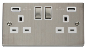Click Deco Stainless Steel Twin USB Double Socket VPSS580WH
