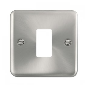 Click Deco Plus Sat/Chrome 1 Gang Grid Pro Front Plate DPSC20401
