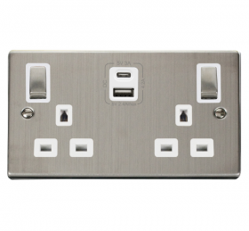 Click Deco S/Steel Type A & C USB Double Socket VPSS586WH