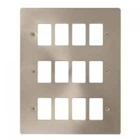 Click Define Brushed Steel 12 Gang Grid Pro Plate FPBS20512