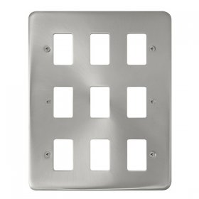 Click Deco Plus Sat/Chrome 9 Gang Grid Pro Front Plate DPSC20509