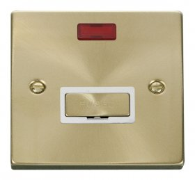 Click Deco Satin Brass Unswitched Fused Spur with Neon VPSB753WH