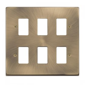 Click Deco Antique Brass 6 Gang Grid Pro Front Plate VPAB20506