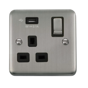 Click Deco Plus 13A Single USB Switched Socket DPSS571UBK