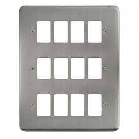 Click Deco Plus S/Steel 12 Gang Grid Pro Front Plate DPSS20512