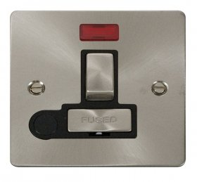 Click Define Brushed Steel Switched Spur Neon + F/O FPBS552BK