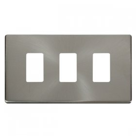 Click Definity B/Steel 3 Gang Grid Pro Front Plate SCP20403BS