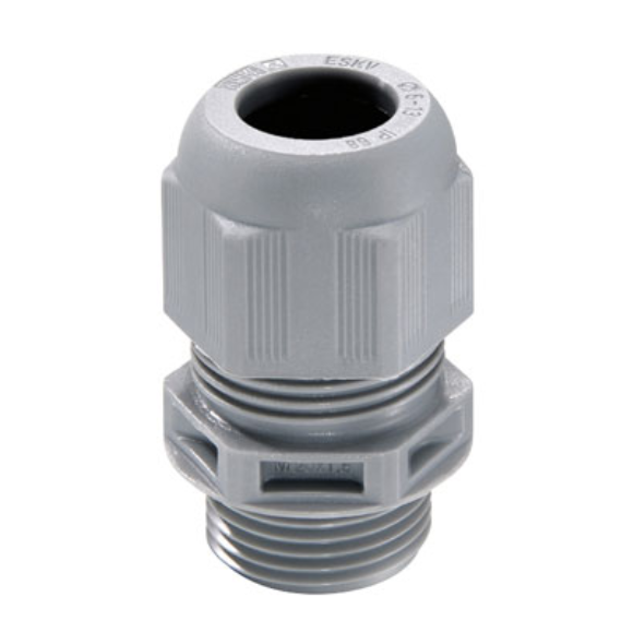 Wiska 10100613 IP68 20mm Grey Cable Gland with Locknut 60547