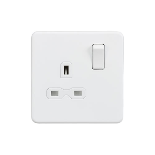 Knightsbridge Matt White 13A Single Switched Socket SFR7000MW