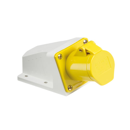 Knightsbridge 110V IP44 16A Angled Surface Mount Socket 2P+E