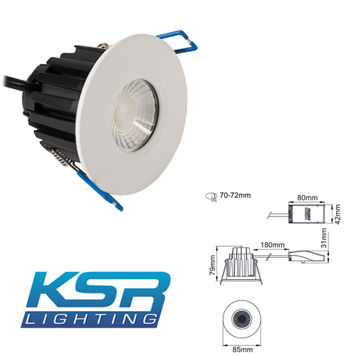 KSR FireBreak QR7 Dimmable LED Tri-Colour Downlight KSRFRD374