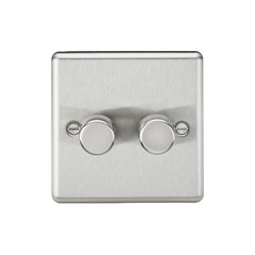 Knightsbridge Brushed Chrome 2G 2 Way Trailing Edge Dimmer