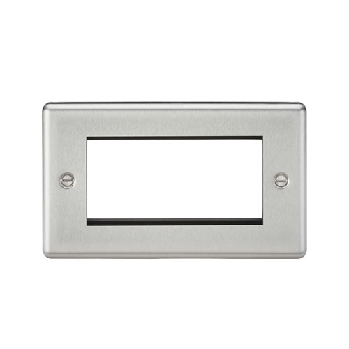 Knightsbridge Brushed Chrome 4 Gang Modular Face Plate CL4GBC