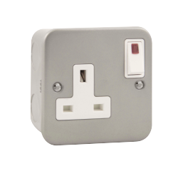 Click Metal Clad 13A 1 Gang DP Switched Socket + Neon CL835