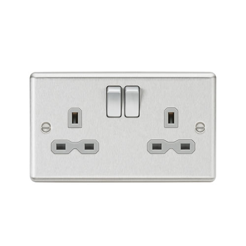 Knightsbridge Brushed Chrome 13A Double Switched Socket CL9BCG