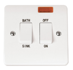 Click Mode 20A Double Pole Sink Bath Switch with Neon CMA024