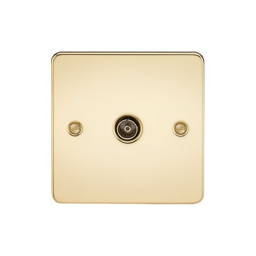 Knightsbridge Polished Brass 1 Gang Non-Isolated TV Outlet