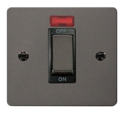 Click Define Black Nickel 45A Double Pole Switch Neon FPBN501BK
