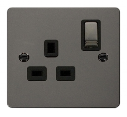 Click Define Black Nickel 13A Single Switched Socket FPBN535BK