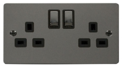 Click Define Black Nickel 13A Double Switched Socket FPBN536BK