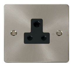 Click Define Brushed Steel 5A Single Round Pin Socket FPBS038BK