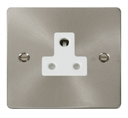 Click Define Brushed Steel 5A Single Round Pin Socket FPBS038WH