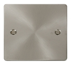 Click Define Brushed Steel 1 Gang Blank Plate FPBS060